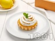 Рецепта Лимонови тартове с лек крем от сметана и глазура с белтъци